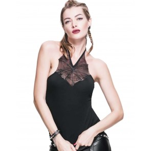 Gothic Neckholder Top Spiderweb