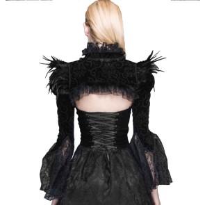 Gothic Velvet Bolero With Feathers