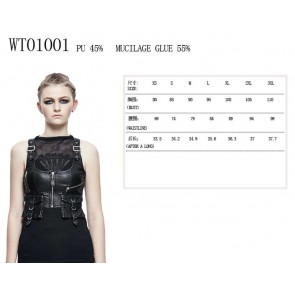 Gothic Underbust Corset Vest With Sidebags