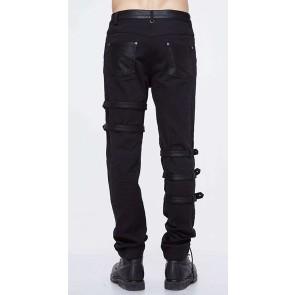 Devil Fashion - Black gothic men pants cut with thongs.