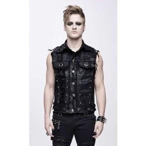 Gilets déchiquetés punk noir Devil Fashion