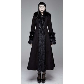 Devil Fashion - Black Gothic Women's Coat with Pointed Hood.