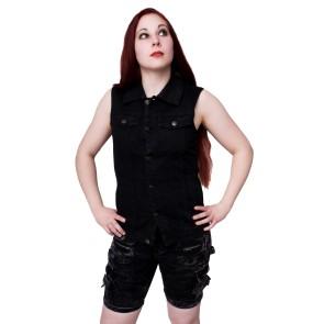 Heavy metal women jeans vest