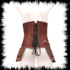 Brown Brocade Corset Waist Steampunk Hipwings