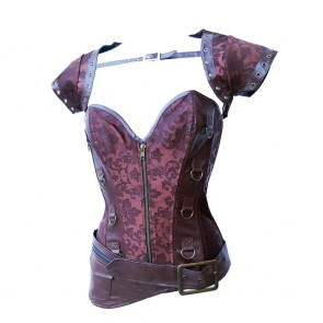 Brown Steampunk Corset With Hipbag