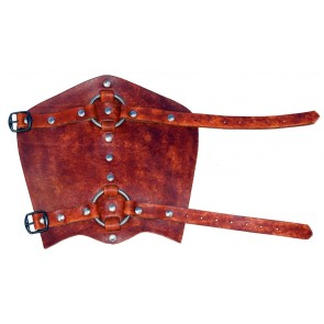 A pair of leather bracers with rings in brown