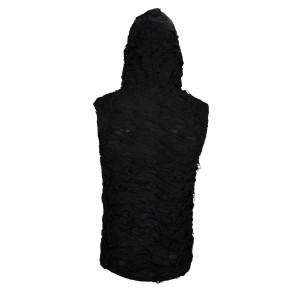 Gothic Men Shredded Hoodie Tanktop Black