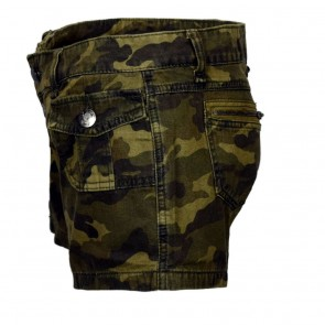 Green Camouflage Women Shorts