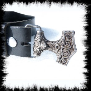 Leather Belt Thorhammer Silver