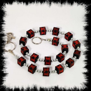 Wallet Chain Cube Red Skulls