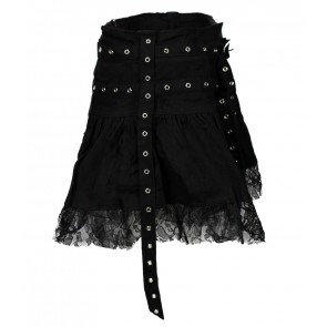 Black Gothic Skirt With Eylet Straps