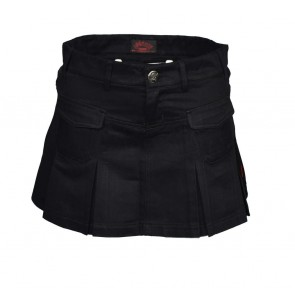Black Mini Skirt With Pleeds And Pockets