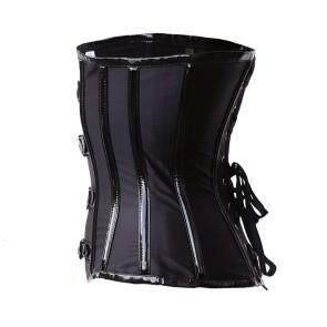 Black Gothic Underbust Corset Satin Pu Strips