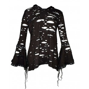 Large Lady Gothic Hooded Longsleeve