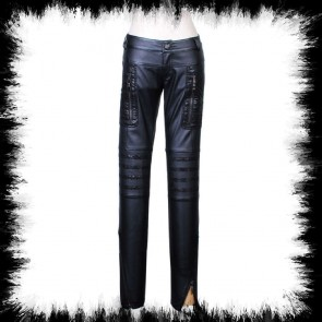 Punk Rave Faux Leather Slim Fit Trousers