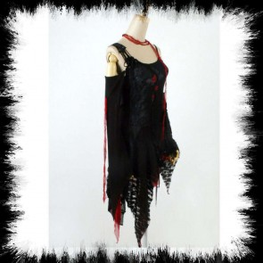 Black And Red Punk Rave Dress With Roses