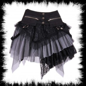 Mini Skirt With Hipbags Black Gray