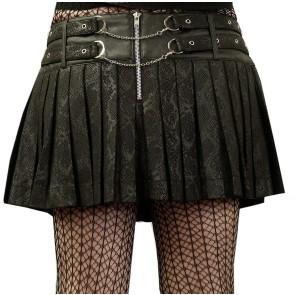 Fold Mini Skirt Snake Skin