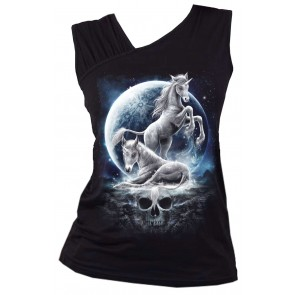 Baby Unicorn - Gathered Shoulder Slant Vest Black