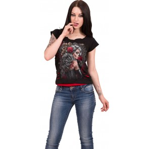 Dead Tattoo 2in1 Red Ripped Top