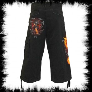 Fire Dragon Vintage Cargo Shorts 3/4 Long Black