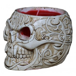 GOTH SKULL - SCENTED RESIN CANDLE HOLDER WITH CANDLE