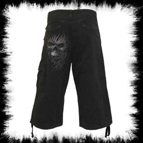 Heavy Metal Shorts 3/4 Gray Skull