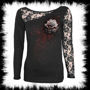 Schwarzes Gothic Lady Shirt White Rose