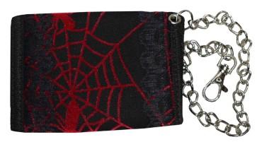 Portemonnaie Avec Chaine Toile D´Araigné Rouge