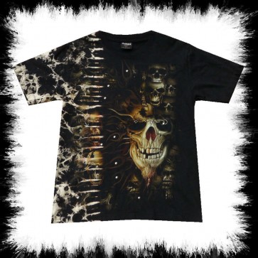 Heavy Metal T Shirt Beard Skull Batik