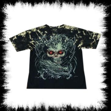 Heavy Metal T Shirt Dragon Skull Bullet Tees Batik
