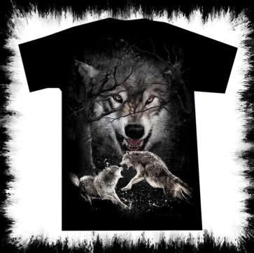 Heavy Metal T Shirt Fighting Wolfs