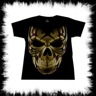 Heavy Metal T Shirt Tribal Skull Frontal