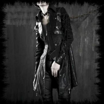 Manteau Gothique Punk Rave Noir Manches Lacé