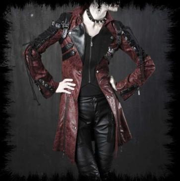 Manteau Gothique Punk Rave Rouge Manches Lacé
