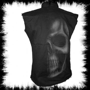 Workershirt à Manches Courts Shadow Skull Grand Crane Gris