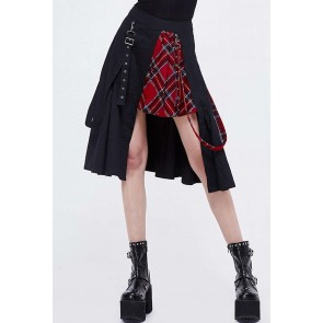 Devil Fashion - Asymmetric Gothic Tartan Women's Skirt