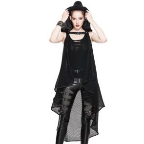 Cape Gothique Femmes Filet Net Noir Avec Capuche
