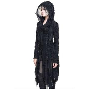 Long Manteau En Tricot Gothique Pour Femmes Avec Capuche