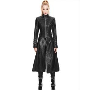 Langer Kunstleder Mantel Damen Zweitteilig