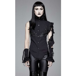 Devil Fashion - Blouse gothique noire pour femme.