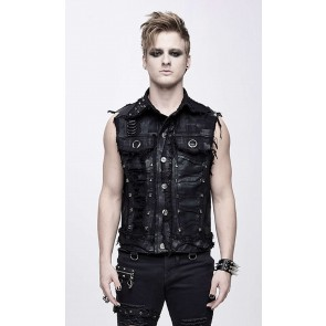 Devil Fashion black punk shredded vests