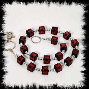 Chaine Portmonnaie Cube Crânes Rouges