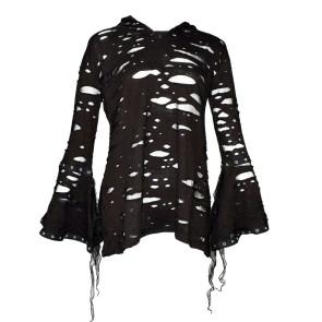 Large Shirt À Capuche Gothique Femmes Manches Longues