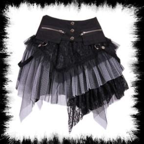 Mini Jupe Gothique Gris Et Noir Avec Ceinture Poche