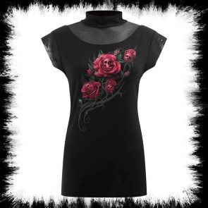 Death Rose Turtle Neck Fine Mesh Top Black