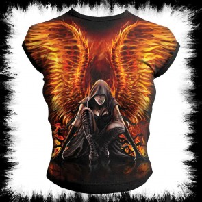 Flaming Angel Allover Cap Sleeve Top Black