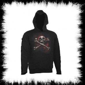 Strap Sleeve Hd Skull Tattoo Sweat Shirt à Capuche Femme