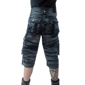3/4 Shorts Grau Schwarz Gebatikt