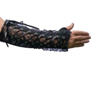 Gothic Armstulpen Mit Schwarzem Flowernet